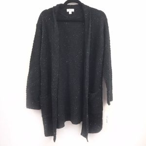 Style & Co Deep Black Open Front Cardigan Sweater